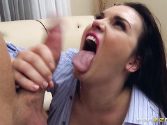 He licked her pussy and asshole until they were wet enough to fuck, and then he went balls deep in her ass, her pussy, and even her pretty mouth.