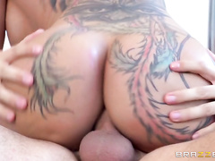 He pounds her pretty pink pussy until she cums hard and then he fucks her huge booty, testing out every single one of her holes before finally giving her the cumshot she's been craving.