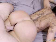 After fucking this sexy celebrity hard and fast, Levi pulls out and shoots his load all over those jiggly cheeks.