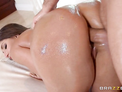 Once she's done teasing and her pussy is as dripping wet as her oiled up booty, Keiran comes in to fuck her pretty face and then slide his thick cock deep between those gorgeous ass cheeks of hers for her first ever anal sex experience.