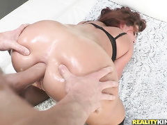 Savannah got her pussy and asshole drilled, and she loved it so much, she squirted all over the place.