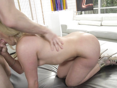 Erik gets on his knees to give this blonde's bottom the worship it deserves, kicking off the action.