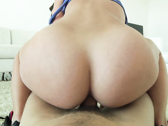 She crawls up to a lucky dick in POV, for a slick blowjob.