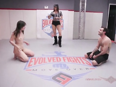 Juliette March fucked up in mixed wrestling match