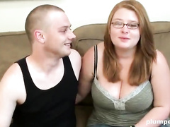 Plump nerd innocent fucks with her skinny boyfriend