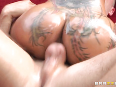 Then she gets on her knees and gives him a nice blowjob, letting Keiran fuck her face until her pussy is dripping wet.