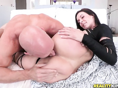 Soon after stuffing Kendra's mouth, Johnny fucked her from various angles and positions.