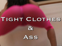 TIGHT CLOTHES & ASS: Legendary director John Buttman Stagliano has a special sexual fixation for the sight of a beautiful girl's sensuous ass and natural curves, squeezed and defined by her skin-tight, revealing clothes.